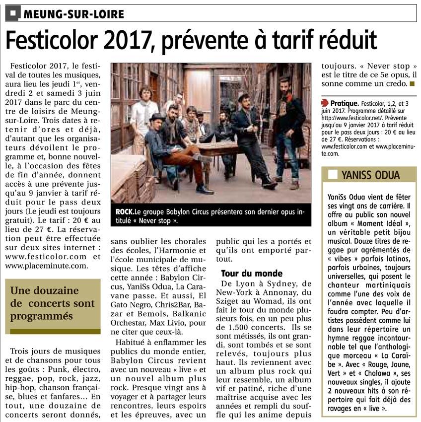 Article la République du centre du 12 décembre 2016 : Festicolor 2017, prévente à tarif réduit