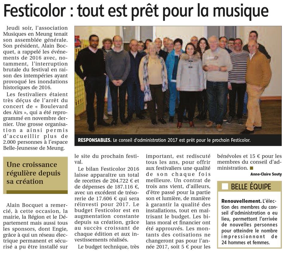 Article la République du centre du 14 mars 2017 : Festicolor : tout est prêt pour la musique