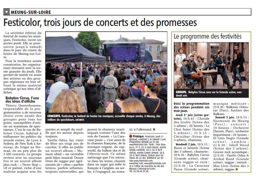 Article la République du centre du 29 mai 2017 : Festicolor : trois jours de concerts et des promesses
