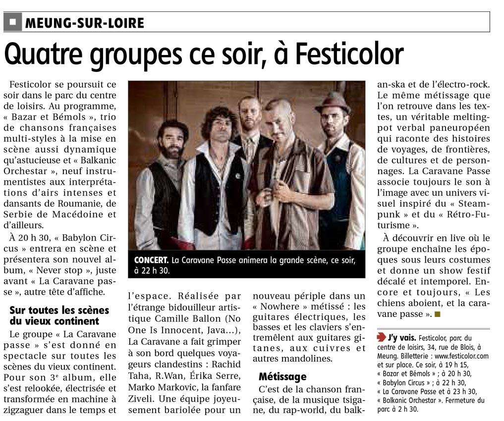 Article la République du centre du 2 juin 2017 : Quatre groupes ce soir, à Festicolor