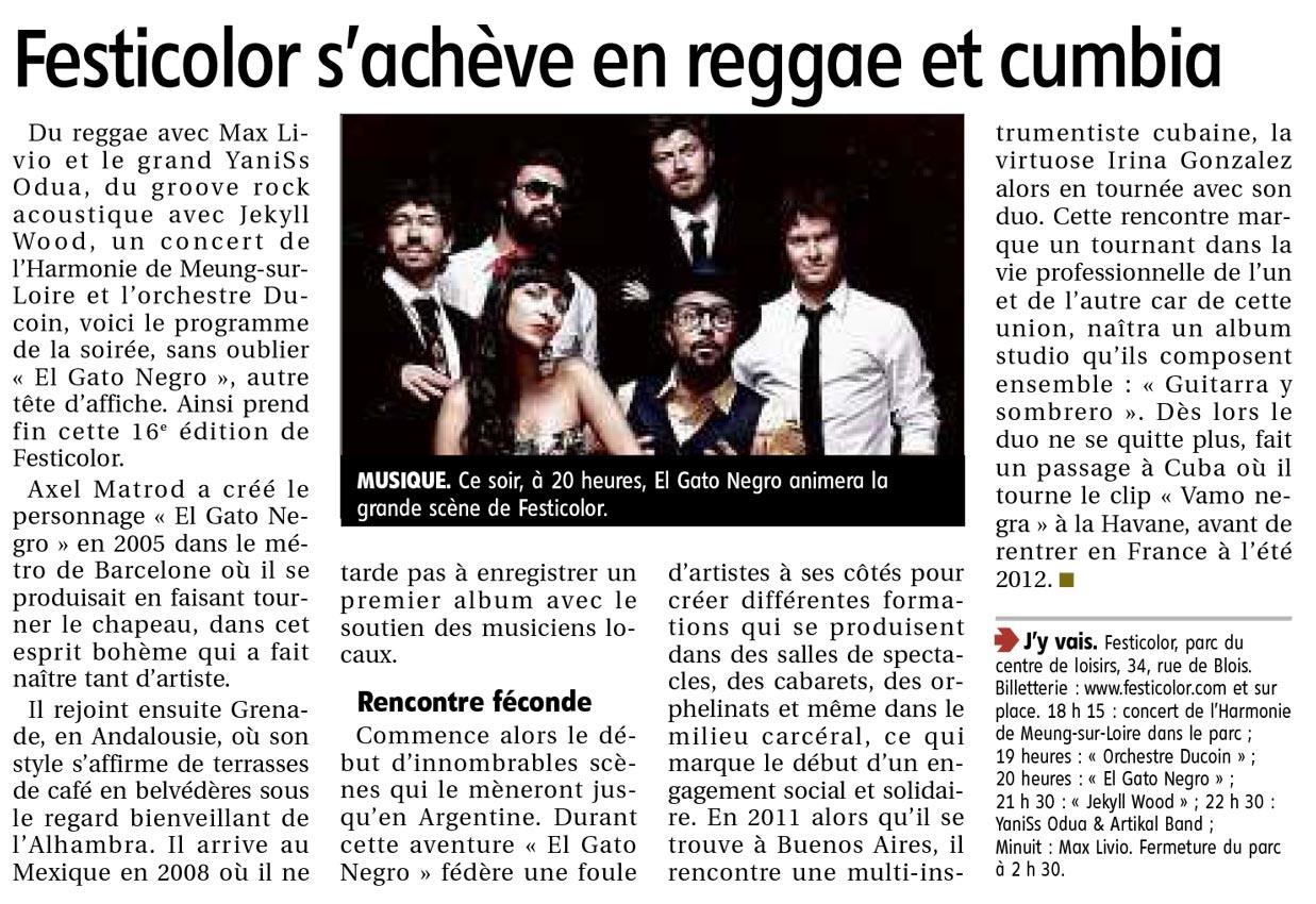 Article la République du centre du 3 juin 2017 : Festicolor s'achève en reggae et cumbia
