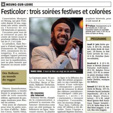 article 25/01/2017 – Festicolor : trois soirées festives et colorées