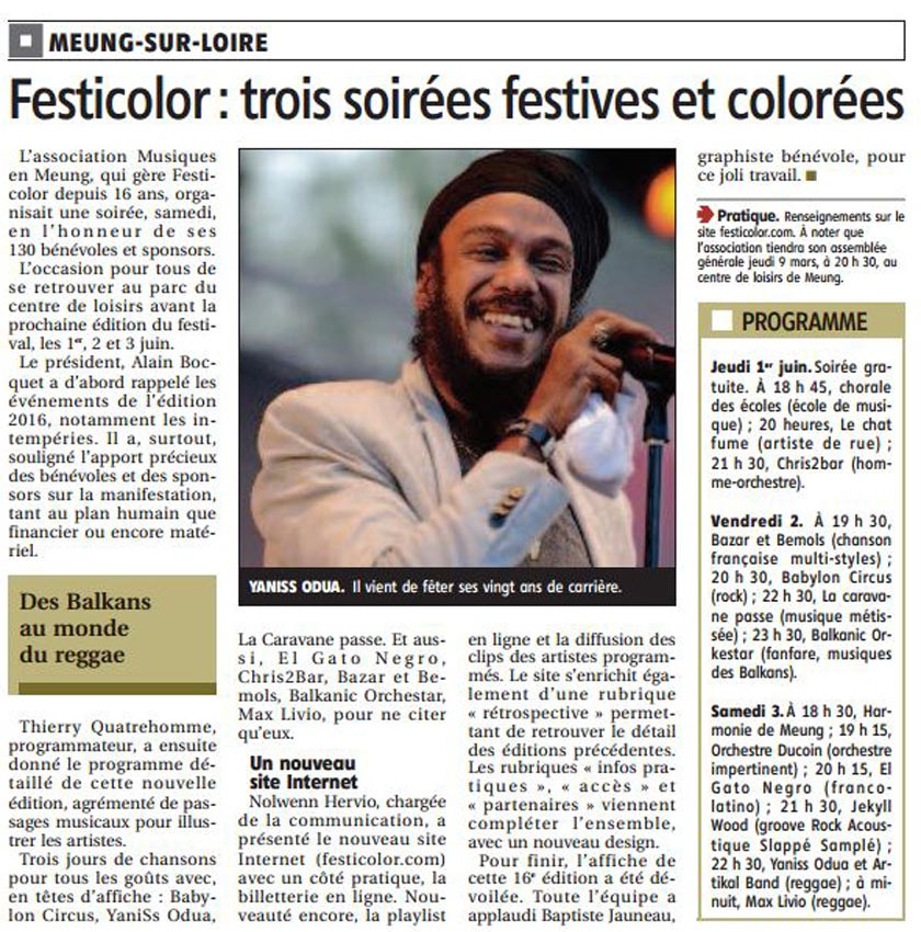 Article la République du centre du 25 janvier 2017 : Festicolor, trois soirées festives et colorées