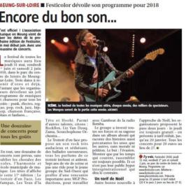 Article La République du Centre du 11 novembre 2017 : Festicolor dévoile son programme pour 2018